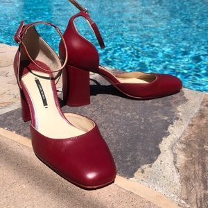Zara red leather Mary Jane heels 38 so cute 8